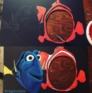 Here's a Finding Dory photo board idea for a birthday party.